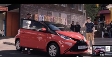 """the smart car owner enters his Aygo"" - culled from Toyota Aygo South African advert"