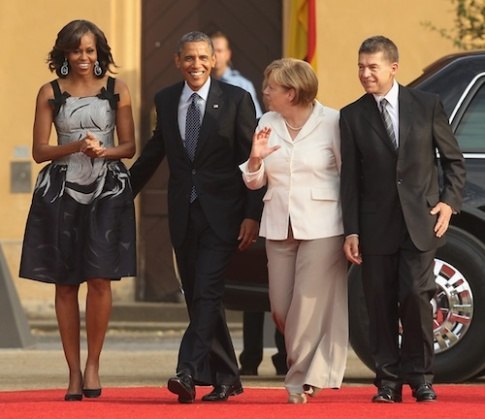 First lady Michelle Obama with Angela Merkel, on June 19, 2013 in Berlin, Germany.