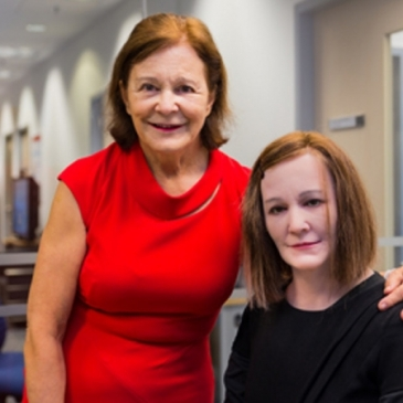 Professor Nadia Thalmann on the left with her look alike robot Nadine
