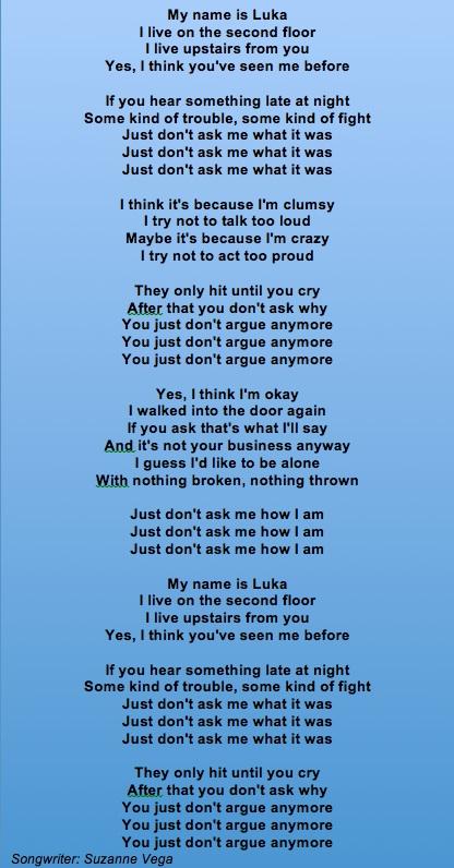 Suzanne Vega Luka Lyrics2