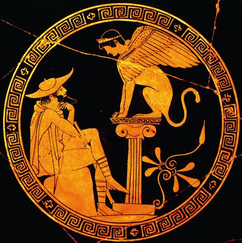 Oedipus answers the Sphinx's riddle